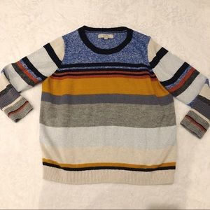 Loft | Colorful Striped Sweater Crewneck Sz L/XL